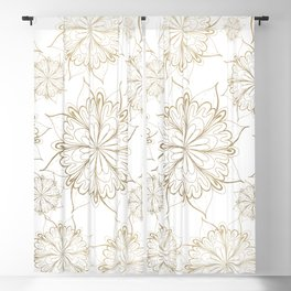 Elegant hand painted gold floral mandala Blackout Curtain