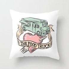 Food Truck Heart Fork Etching Throw Pillow