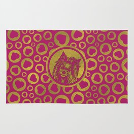 Golden Yorkshire Terrier on pastel pink Rug