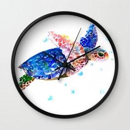 Sea Turtle, blue rainbow Wall Clock