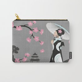 Japanese Geisha under Cherry Blossoms Carry-All Pouch