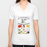 pasta V-neck T-shirts featuring WHAT'S IN MY PASTA PEPERONATA? by Colette van der Wal