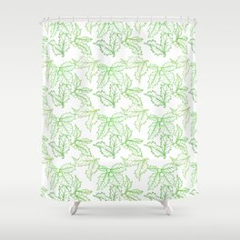 Holly Sprigs (White Glow) - Forest Shower Curtain