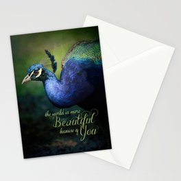 The World is More Beautiful Because of You Peacock Art Stationery Cards