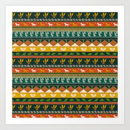 Ukrainian Folk Art Stripe Art Print