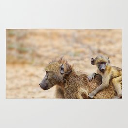 Cute monkey baby and mother Rug