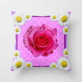 Lilac Color Shasta Daisies & Fuchsia Pink Rose Pattern Throw Pillow