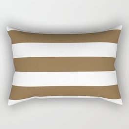 Coyote brown - solid color - white stripes pattern Rectangular Pillow