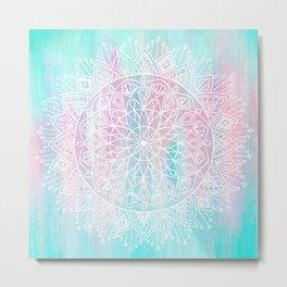 Pastel Mandala - Turquoise Pink Metal Print