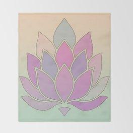Lotus Flower Pastel Meditation Yoga Symbol Throw Blanket