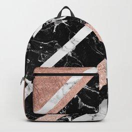 Modern rose gold glitter foil white black marble glitter triangles stripes Backpack