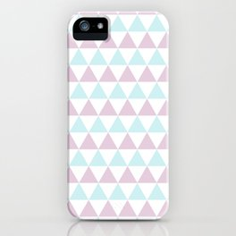 Triangles Pattern in Minty Rose iPhone Case