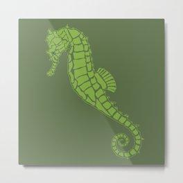 Luscious Two Tone Green Seahorse Design Metal Print