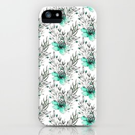 Modern turquoise gray watercolor flowers pattern iPhone Case