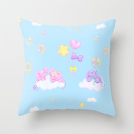 Bubbly Mice Sky Throw Pillow