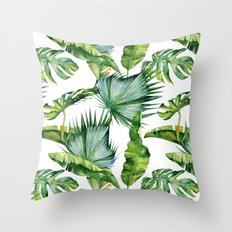 Tropical Island Plants on White Throw Pillow