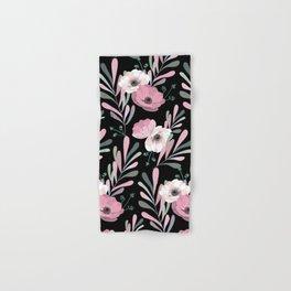 Anemones & Olives black Hand & Bath Towel