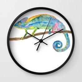 Watercolor chameleon Wall Clock