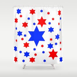 4TH RED & WHITE & BLUE STARS  DESIGN Shower Curtain