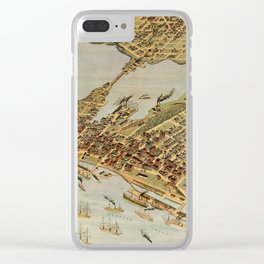 Vintage Pictorial Map of Vancouver BC (1898) Clear iPhone Case
