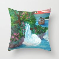 neverland Throw Pillows featuring Neverland by Jadie Miller