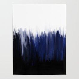 Modern blue cobalt black oil paint brushstrokes abstract Poster