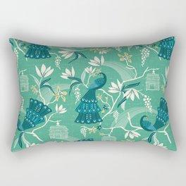 Aviary - Green Rectangular Pillow