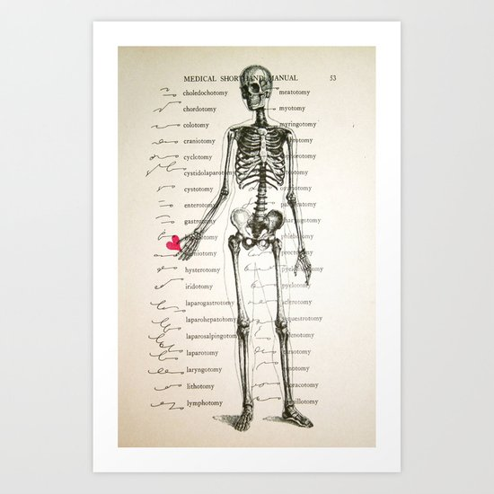 Skeleton In Love Art Print
