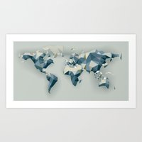 low poly world map Art Print