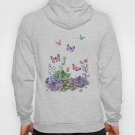 A Splendid Secret Succulent Garden With Butterfly Visitors Hoody