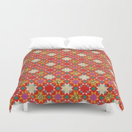 Distressed Boho Geometric Pattern Duvet Cover