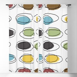 Mid Century Modern Ovals Scribbles Blackout Curtain