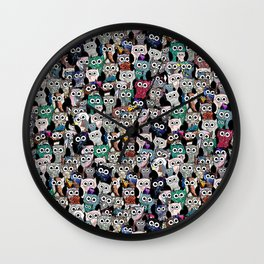 Gemstone Owls Wall Clock