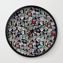 Gemstone Owls Wall Clock