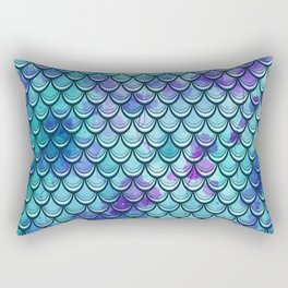 Mermaid Scales Watercolor Rectangular Pillow