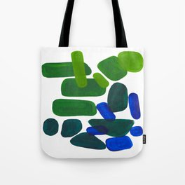 Mid Century Vintage Abstract Minimalist Colorful Pop Art Phthalo Blue Lime Green Pebble Shapes Tote Bag
