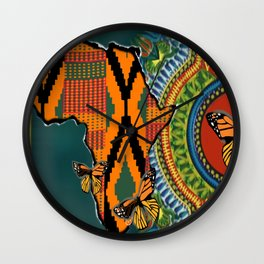 African Dashiki Butterfly Wall Clock