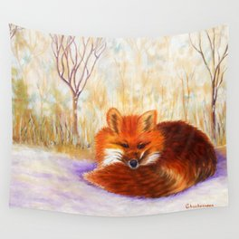 Red fox small nap   Renard roux petite sieste Wall Tapestry