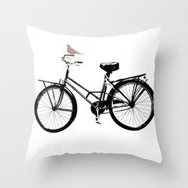Baker's bicycle with bird Throw Pillow