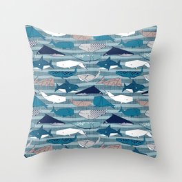Origami Sea // linen texture and nautical stripes background teal white and taupe whales Throw Pillow