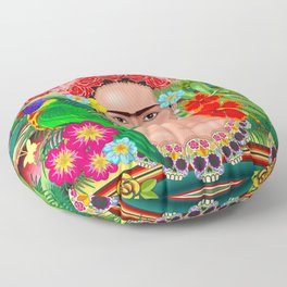 Frida Kahlo Floral Exotic Portrait Floor Pillow