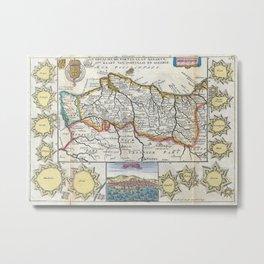Vintage Map of Portugal (1747) Metal Print
