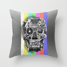 retro tech skull 3 Throw Pillow