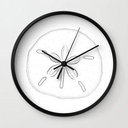 Sand Dollar Blessings - Black on White Pointilism Art Wall Clock