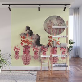 Pink Vase with Poppy Flowers Moon Wall Mural