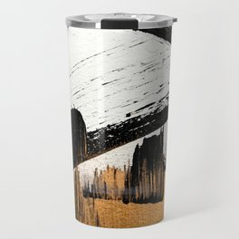 Axis [1]: a bold, minimal abstract in gold, purple, blue, black and white Travel Mug