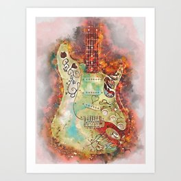 The Burnin' Guitar Art Print