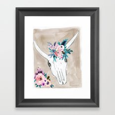 Skull & Flowers Framed Art Print