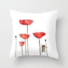 Little mouse loves big poppies  Throw Pillow