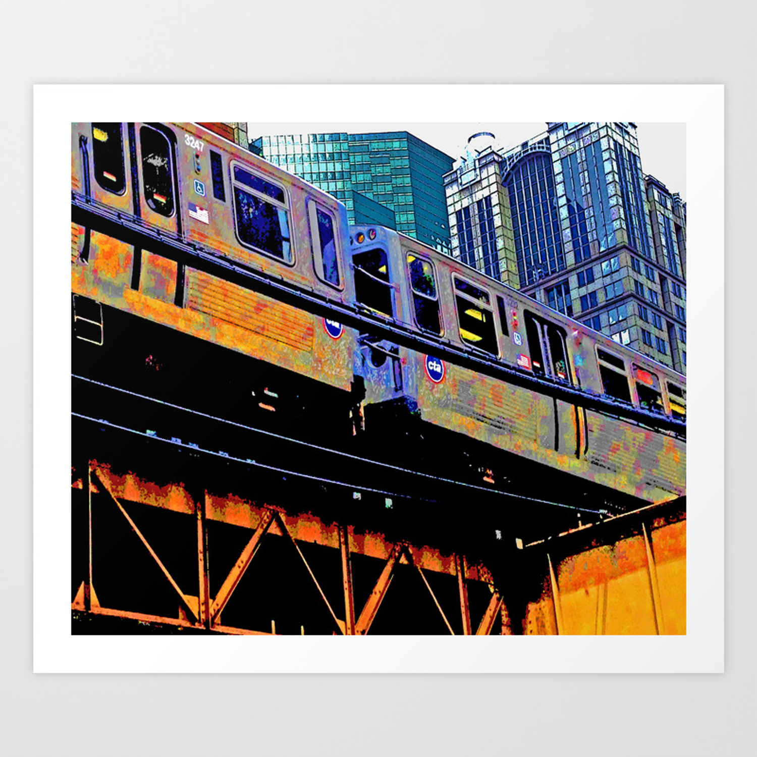 Chicago \'L\' in multi color: Chicago photography - Chicago Elevated train  Art Print